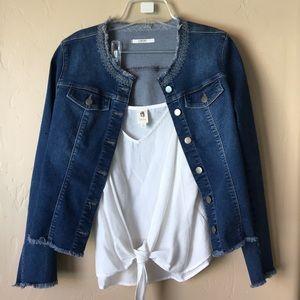 Raw hem Anthropologie denim jacket. Like NEW!